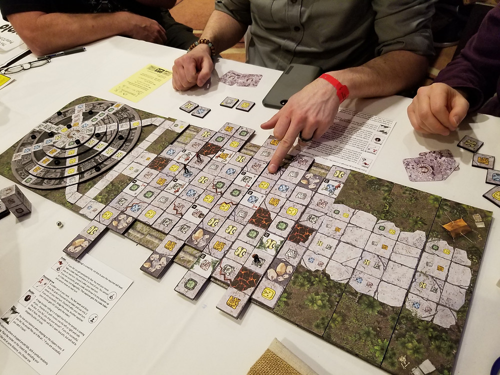 Playtesting Mayan Curse. Photo by Joe Slack. Used with permission