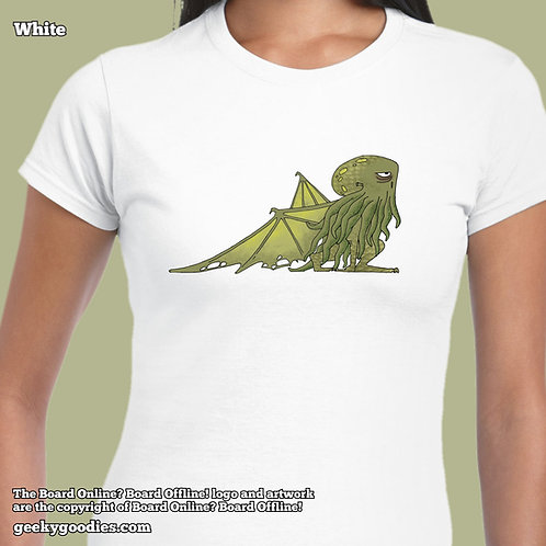 Bored Cthulhu from Bored Online? Board Offline! Ladies FITTED White Tshirt