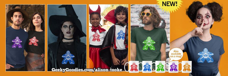 Bad To The Bone Meeple T-shirts, Unisex Long Sleeve Shirts for Men, Women and Kids.
