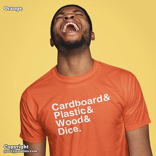 Cardboard & Plastic & Wood & Dice Mens/Unisex T-shirts