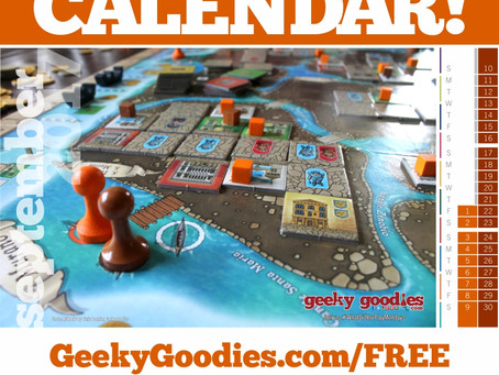 Board Game Calendar FREE from Geeky Goodies