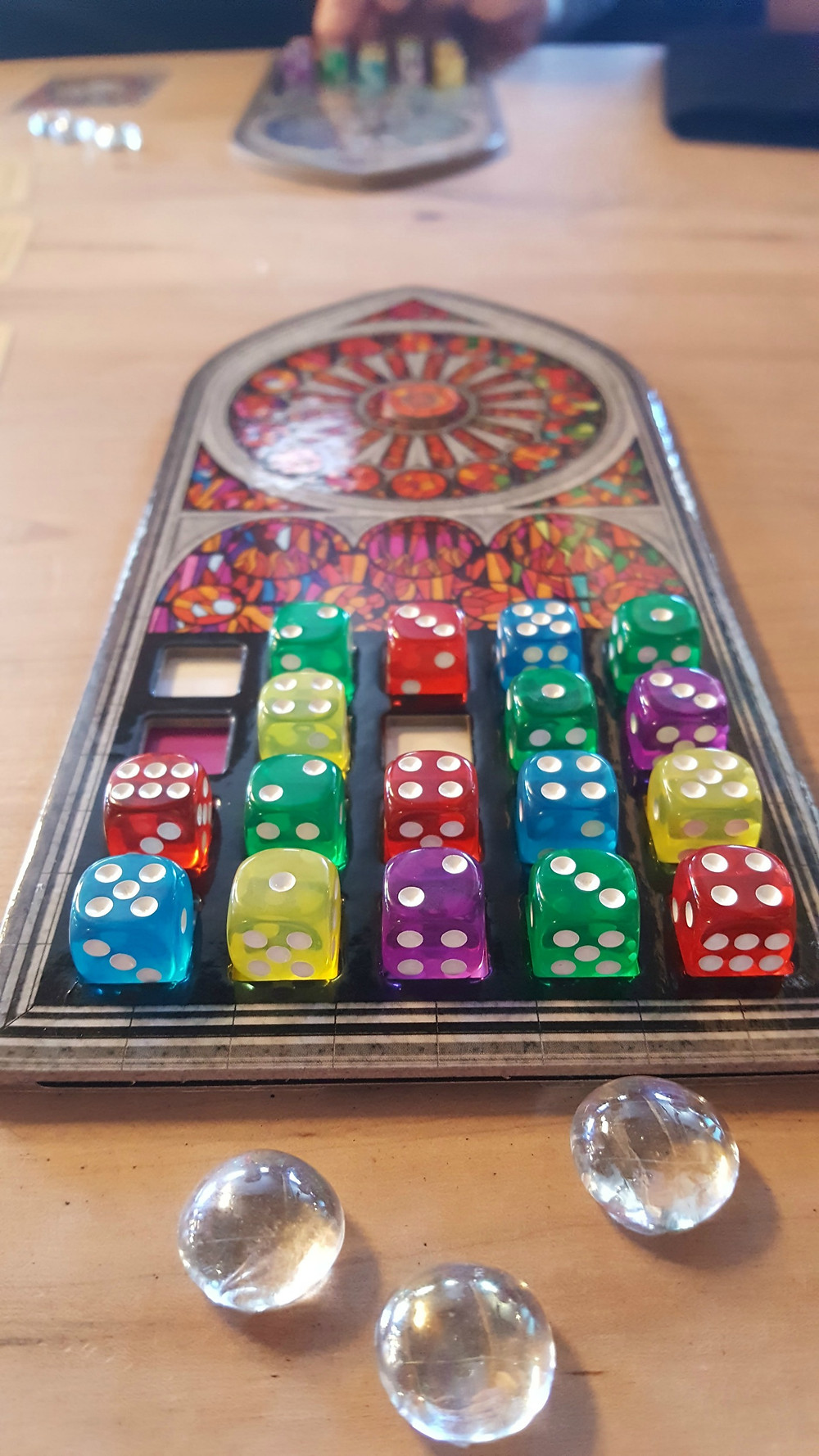 Sagrada, by local Toronto game designer, Daryl Andrews (designer of Fantasy Fantasy Baseball, Fantasy Fantasy Football, Space Invaders Dice, The Walled City: Londonderry & Borderlands and more)