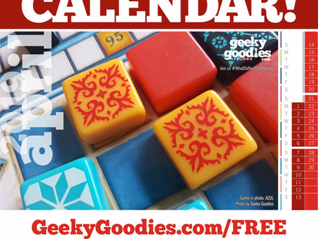 FREE Board Game Calendar for April 2019