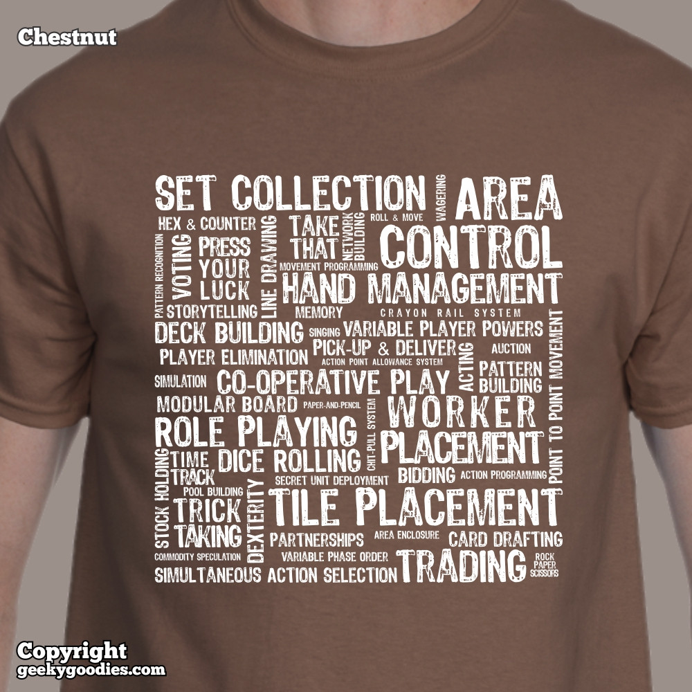 Board Game Mechanics T-shirt | Geeky Goodies