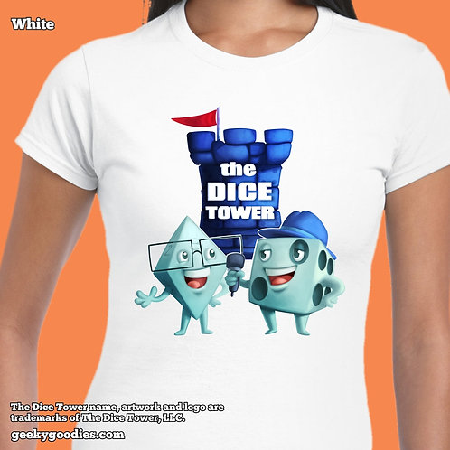Dice Eric & Tom from The Dice Tower Womens White FITTED T-shirts