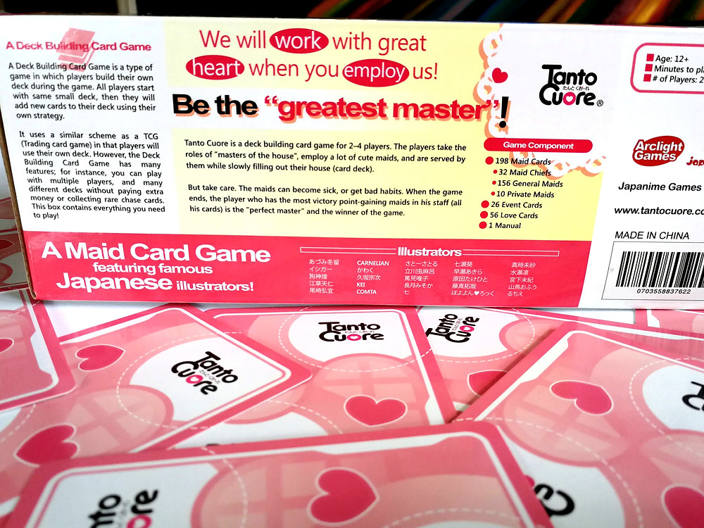 """Back of the Tanto Cuore Box - Be the """"Greatest master!"""""""