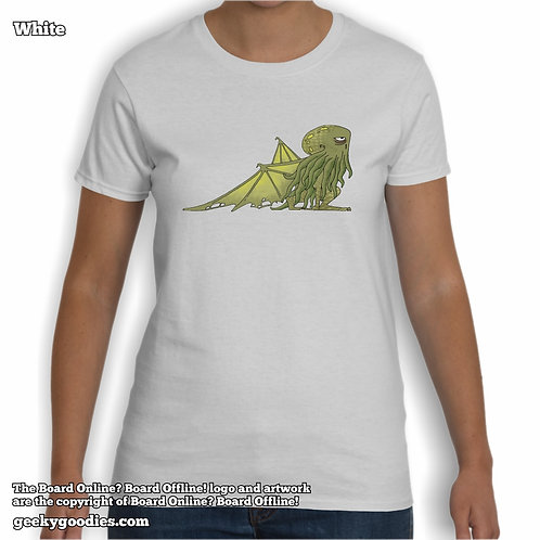 Bored Cthulhu from Bored Online? Board Offline! Ladies White T-shirt