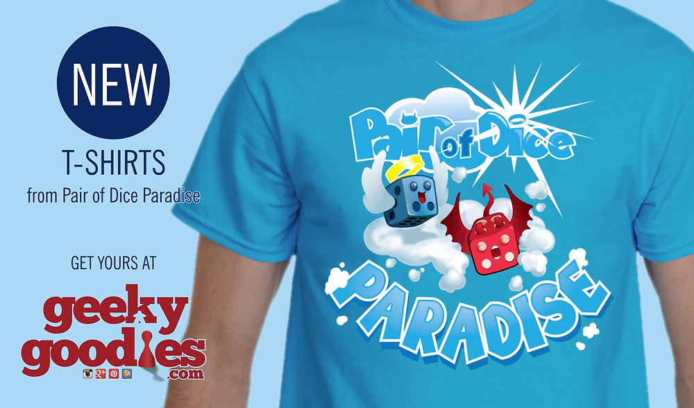 Pair of Dice Paradise T-shirts | Bouncy Clouds | Geeky Goodies | T-shirts for board gamers