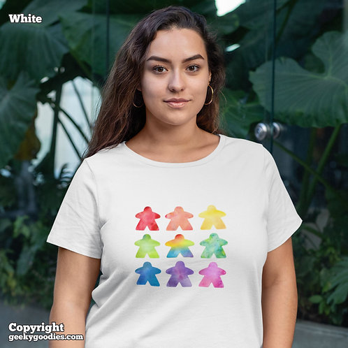 The Watercolor Meeple Ladies White T-shirts