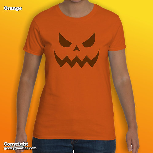 Scary Halloween Pumpkin Ladies T-shirts