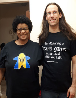 Joe Slack and his wife Lisa wearing proudly wearing their Geeky Goodies.  Joe is always designing a