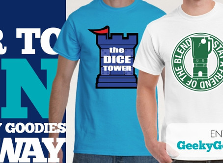 Geeky Goodies Giveaway!  WIN a Dice Tower T-shirt!