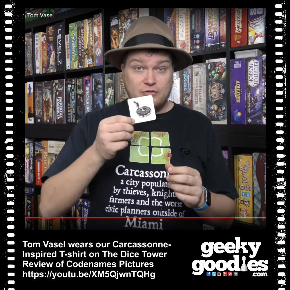 Tom Vasel wearing Geeky Goodies' Carcassonne Inspired Tshirt on the Dice Tower Review of Codenames Pictures | Geeky Goodies