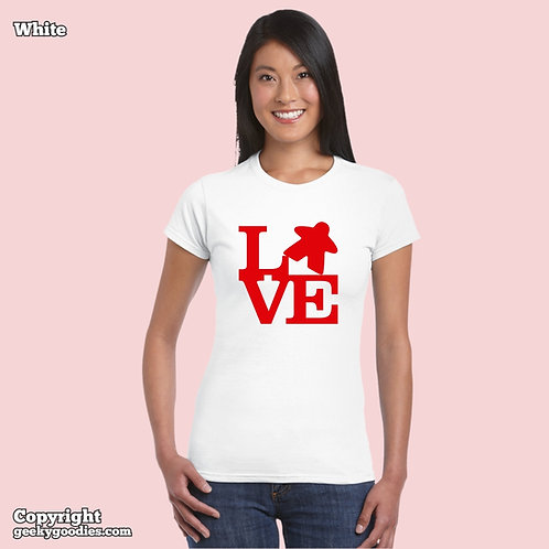 LOVE (Meeple) Women's FITTED White T-shirt