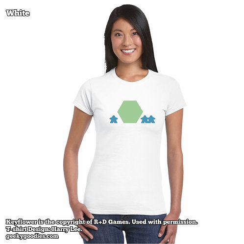 Keyflower Womens FITTED White T-shirts