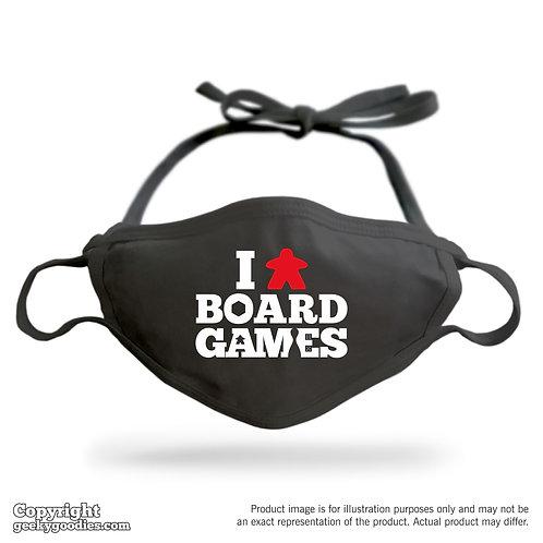 I (Meeple) Board Games Adjustable Cloth Face Mask