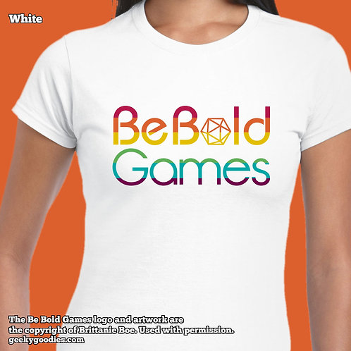 Be Bold Games Rainbow Logo Ladies FITTED White T-shirts