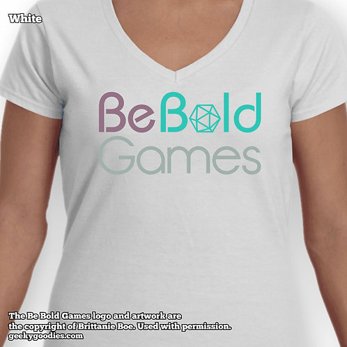 Be Bold Games Logo Ladies FITTED White T-shirts