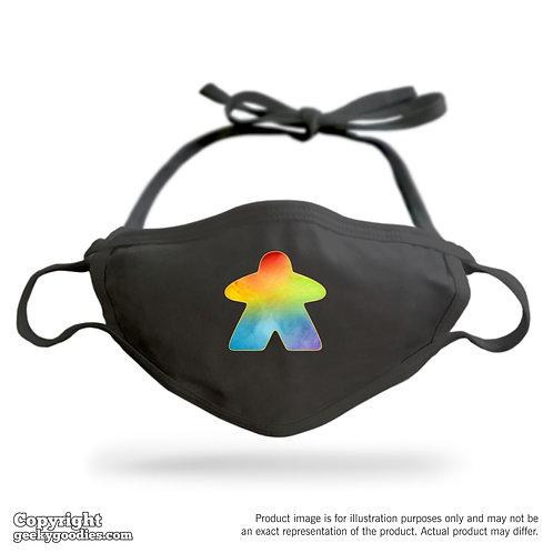 Watercolor Rainbow Meeple Adjustable Cloth Face Mask