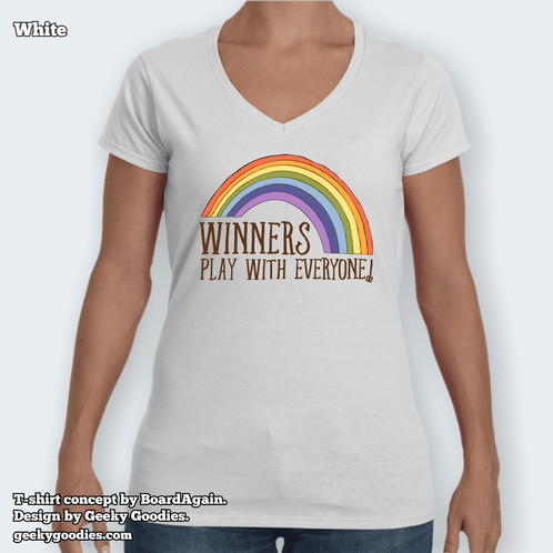 1690a5c3 Winners Play With Everyone Women's White Fitted V-Neck Tshirts