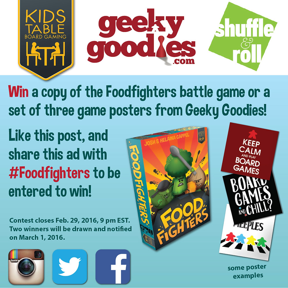 "Contest Alert! a chance to win either a copy of the Foodfighters battle game or a set of three 8"" x 8"" board game posters from Geeky Goodies"