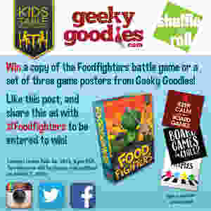 """Contest Alert! a chance to win either a copy of the Foodfighters battle game or a set of three 8"""" x 8"""" board game posters from Geeky Goodies"""