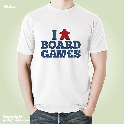 I (Meeple) Board Games Mens/Unisex White T-shirt