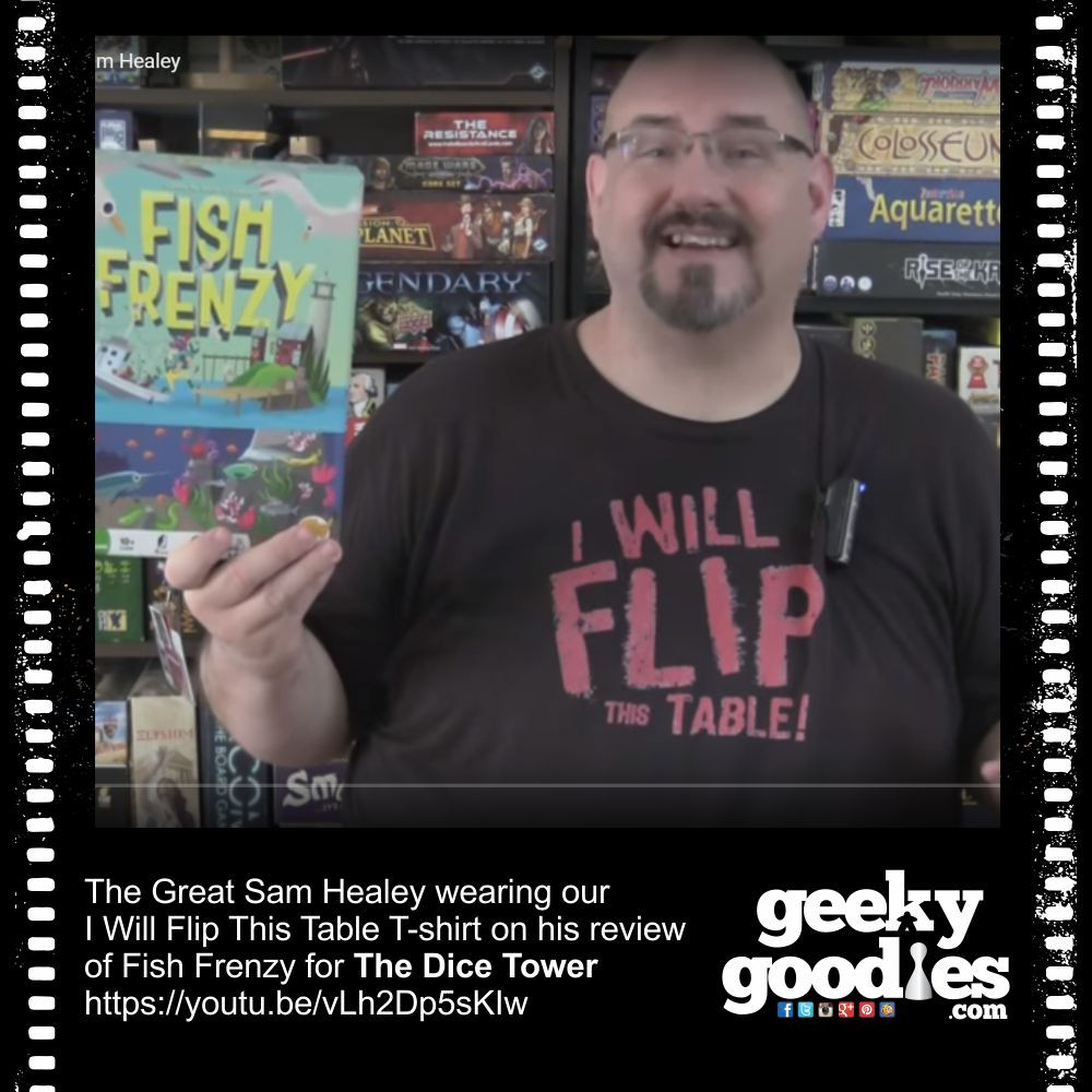 Sam Healey wearing our I Will Flip This Table board game t-shirt | from GeekyGoodies.com