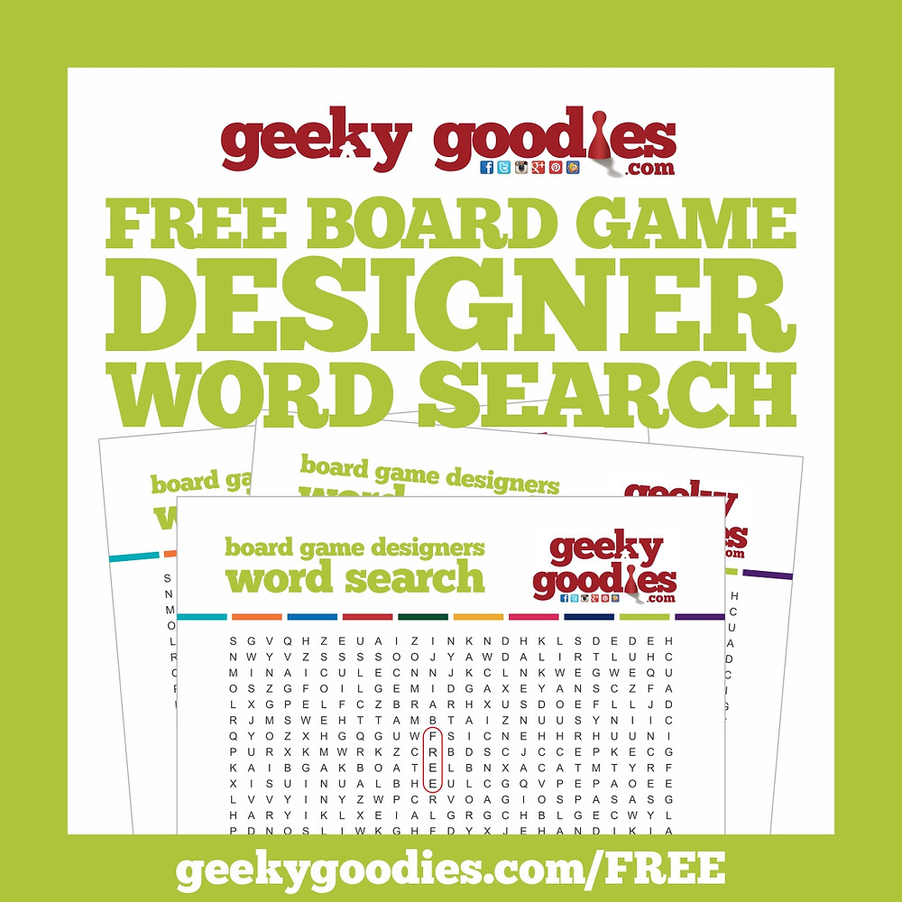 FREE Board Game Designer Word Search Game from Geeky Goodies | FREE Stuff for Board Gamers