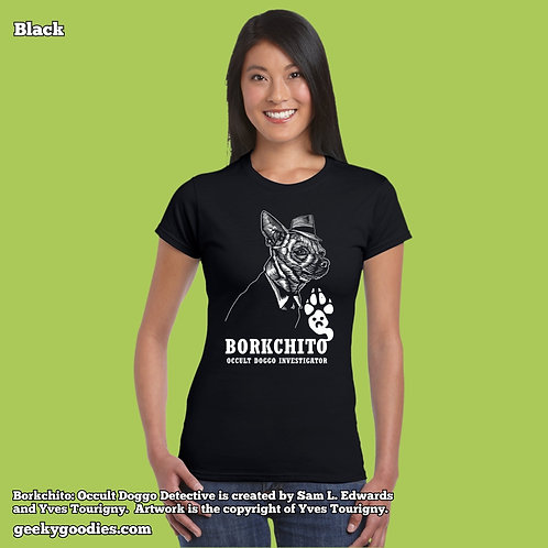 Borkchito: Occult Doggo Detective Ladies FITTED Tshirt