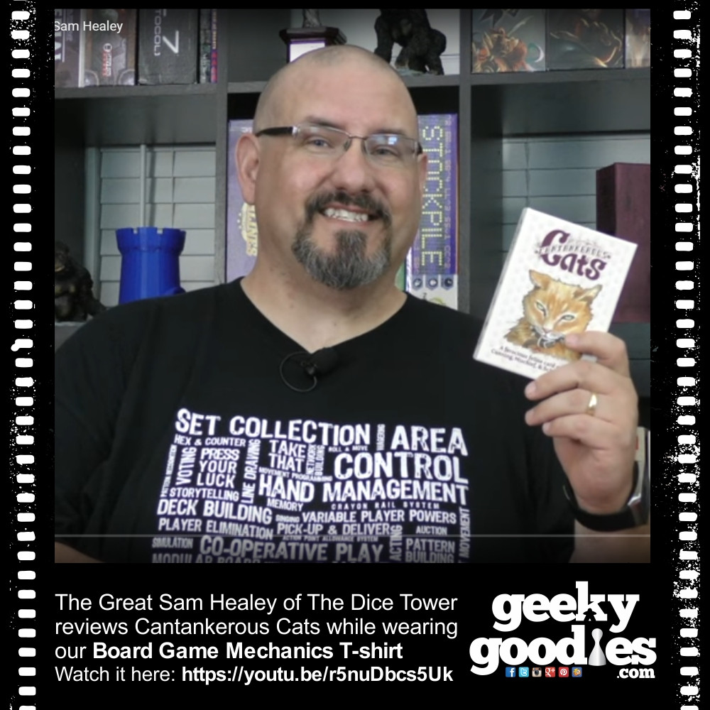 Sam Healey Reviews Cantankerous Cats while wearing our Board Game Mechanics T-shirt | Geeky Goodies