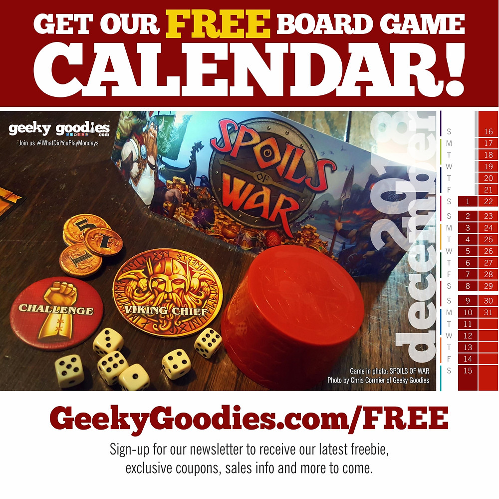 Board Game Calendar | FREE calendar for board gamers | Geeky Goodies | Free stuff