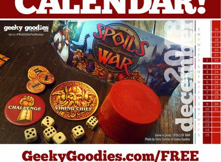 FREE Board Game Calendar for December 2018