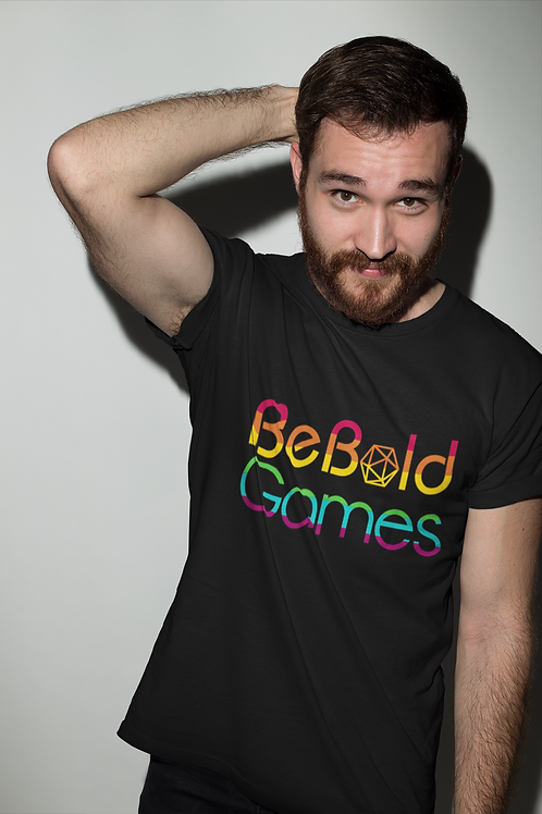 Be Bold Games Rainbow Logo Mens/Unisex Black T-shirts