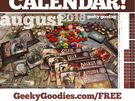 FREE Board Game Calendar for August 2018