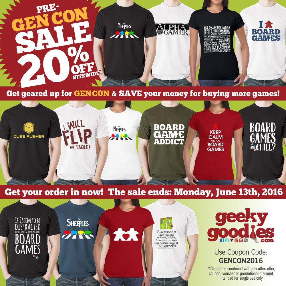 Get geared up for #GENCON & save your money for buying more games.