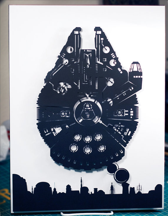 Millennium Falcon/Mos Eisley Silhouette Handcut Paper Craft Art | Geeky Goodies