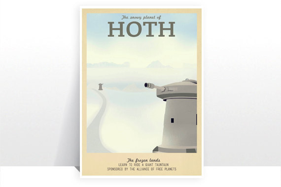 Planet Hoth Retro Travel Poster | Geeky Goodies