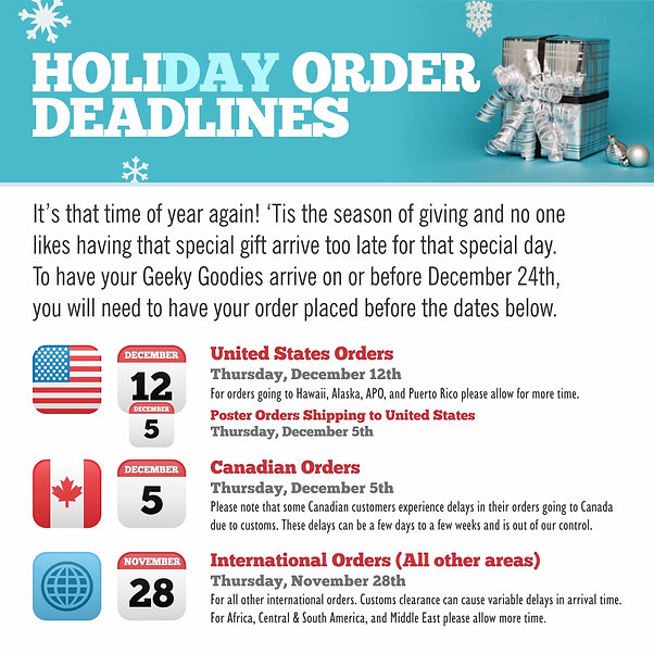 2019 Holiday Order Deadlines for Gifts for Board Gamers using GeekyGoodies.com