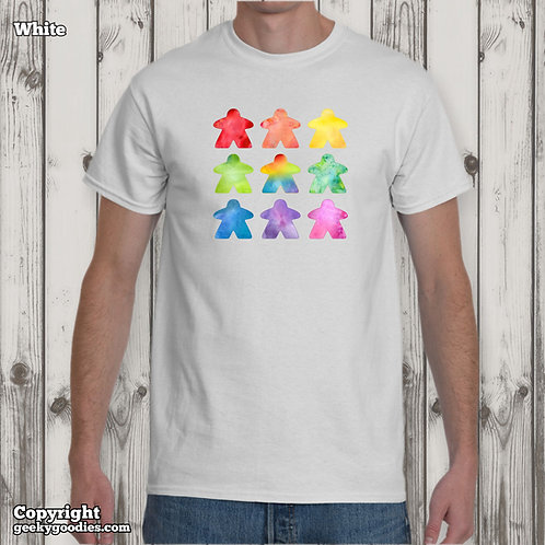 TALL Sizes - The Watercolor MeepleMen's/Unisex White T-shirts