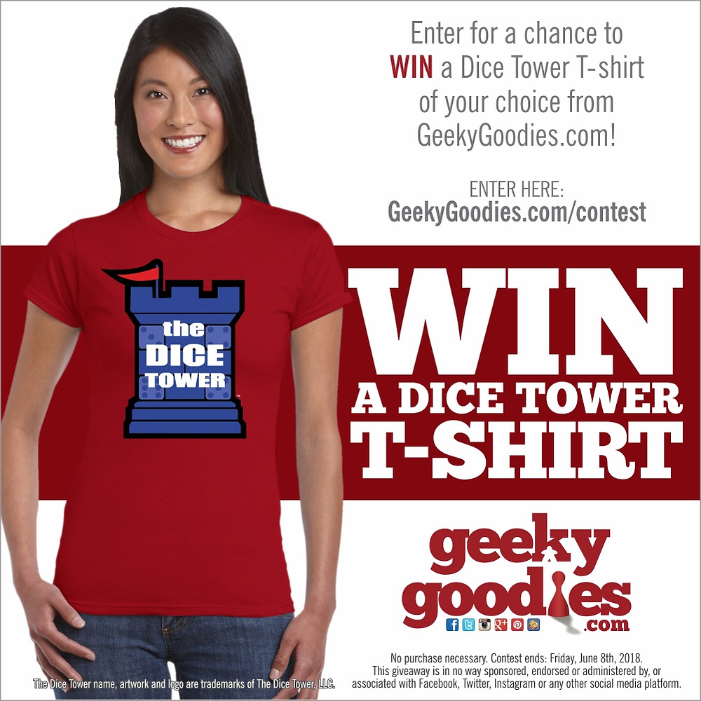 Enter for a chance to WIN a Dice Tower T-shirt of your choice from GeekyGoodies.com | Geeky Goodies Giveaway