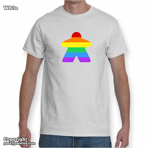 Rainbow (Pride Colors) Meeple Mens/Unisex White T-shirt