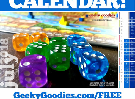 FREE Board Game Calendar for July 2018