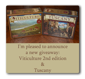Contest Alert!  Win a copy of Viticulture and the Tuscany expansion from Stonemaeier Games.