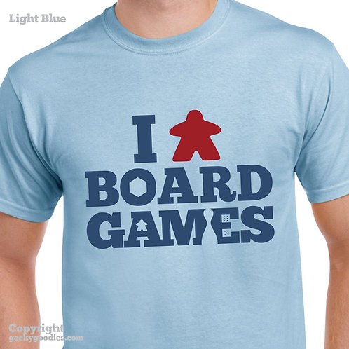 I (Meeple) Board Games Unisex/Mens T-shirt (Light Colours)