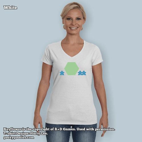 Keyflower Women's FITTED White V-Neck T-shirts