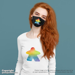 Rainbow Watercolor Meeple Face Masks