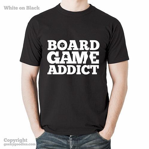 Board Game Addict Men's/Unisex Shirt (White Letters on Dark Colours)