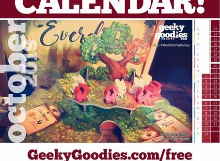 FREE Board Game Calendar for October 2019