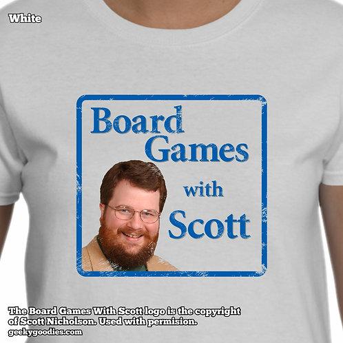 Board Games with Scott  (Retro/Distressed Look) Ladies White Tshirt